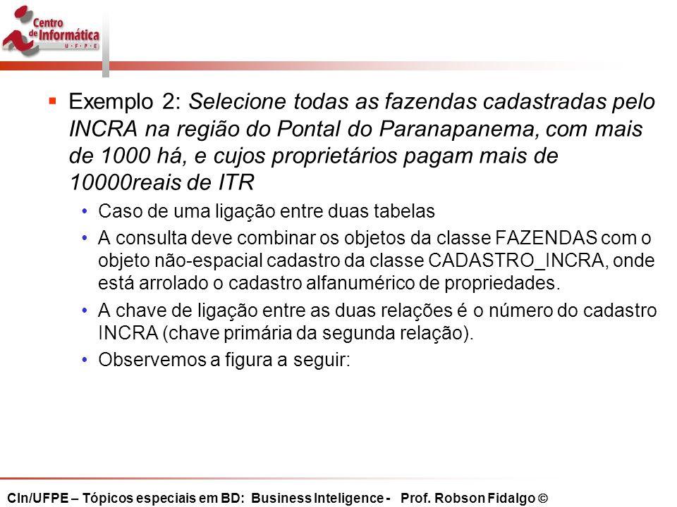 Exemplo 2: Selecione todas as fazendas cadastradas pelo INCRA na região do Pontal do Paranapanema, com mais de 1000 há, e cujos proprietários pagam mais de 10000reais de ITR