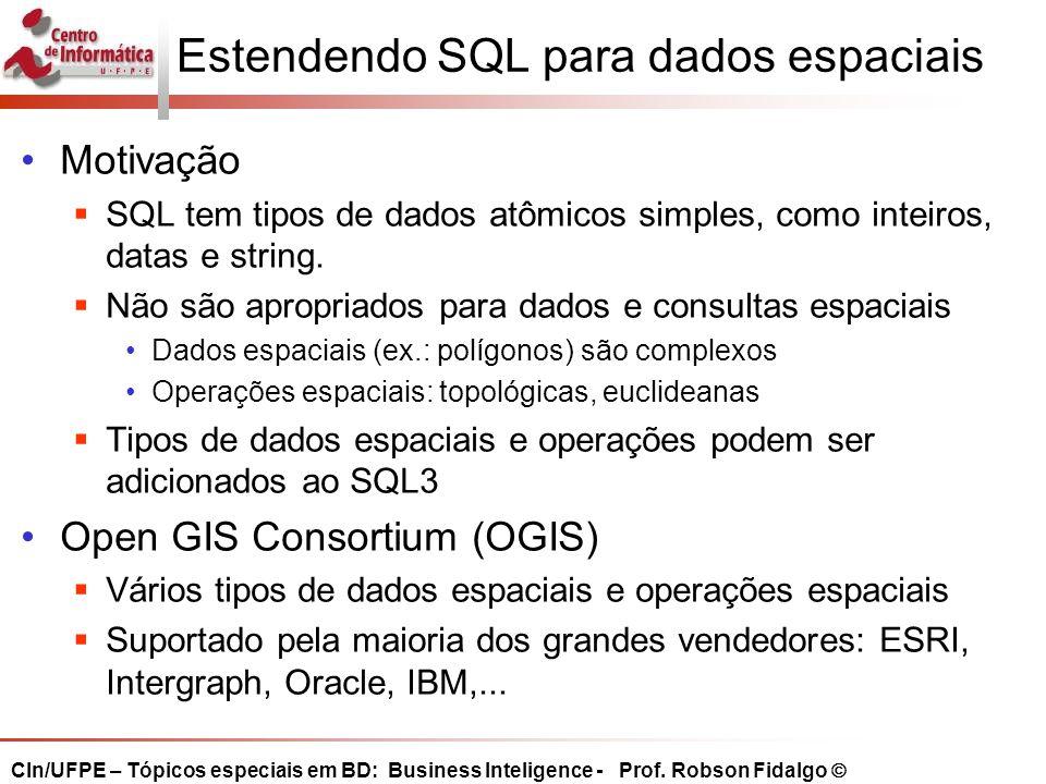 Estendendo SQL para dados espaciais