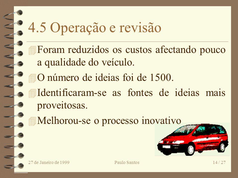 4.5 Operação e revisão Foram reduzidos os custos afectando pouco a qualidade do veículo. O número de ideias foi de 1500.