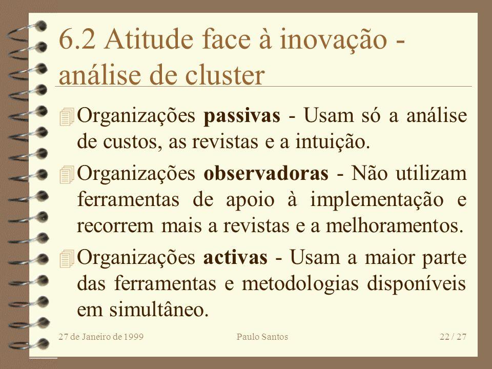 6.2 Atitude face à inovação - análise de cluster