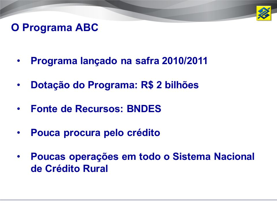 O Programa ABC Programa lançado na safra 2010/2011