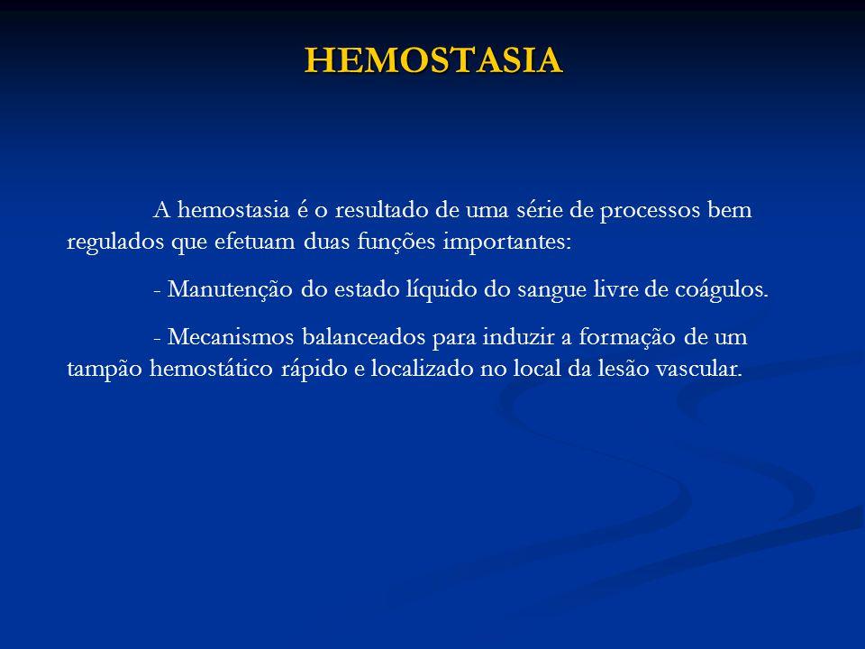 HEMOSTASIA - Manutenção do estado líquido do sangue livre de coágulos.
