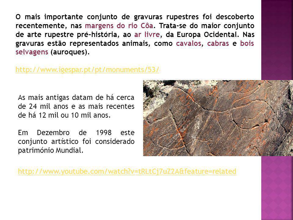 O mais importante conjunto de gravuras rupestres foi descoberto recentemente, nas margens do rio Côa. Trata-se do maior conjunto de arte rupestre pré-história, ao ar livre, da Europa Ocidental. Nas gravuras estão representados animais, como cavalos, cabras e bois selvagens (auroques).