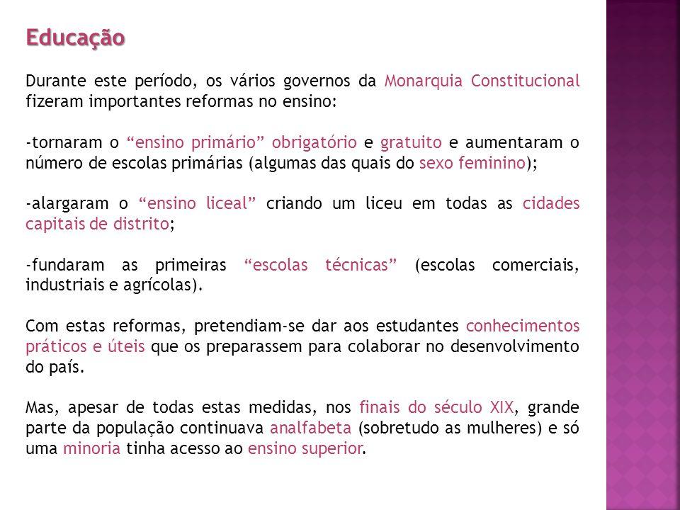 Educação Durante este período, os vários governos da Monarquia Constitucional fizeram importantes reformas no ensino:
