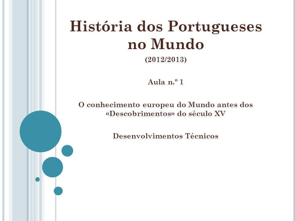 História dos Portugueses no Mundo Desenvolvimentos Técnicos
