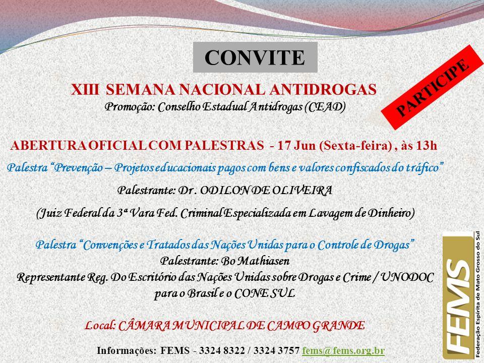CONVITE PARTICIPE XIII SEMANA NACIONAL ANTIDROGAS