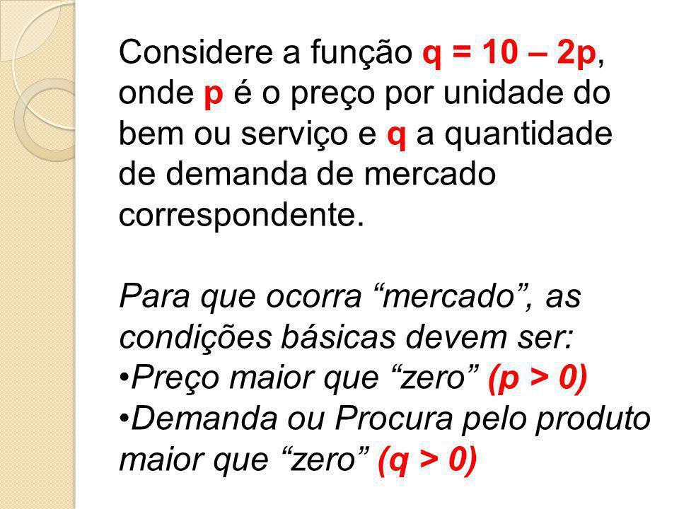 Considere a função q = 10 – 2p, onde p é o preço por unidade do bem ou serviço e q a quantidade de demanda de mercado correspondente.