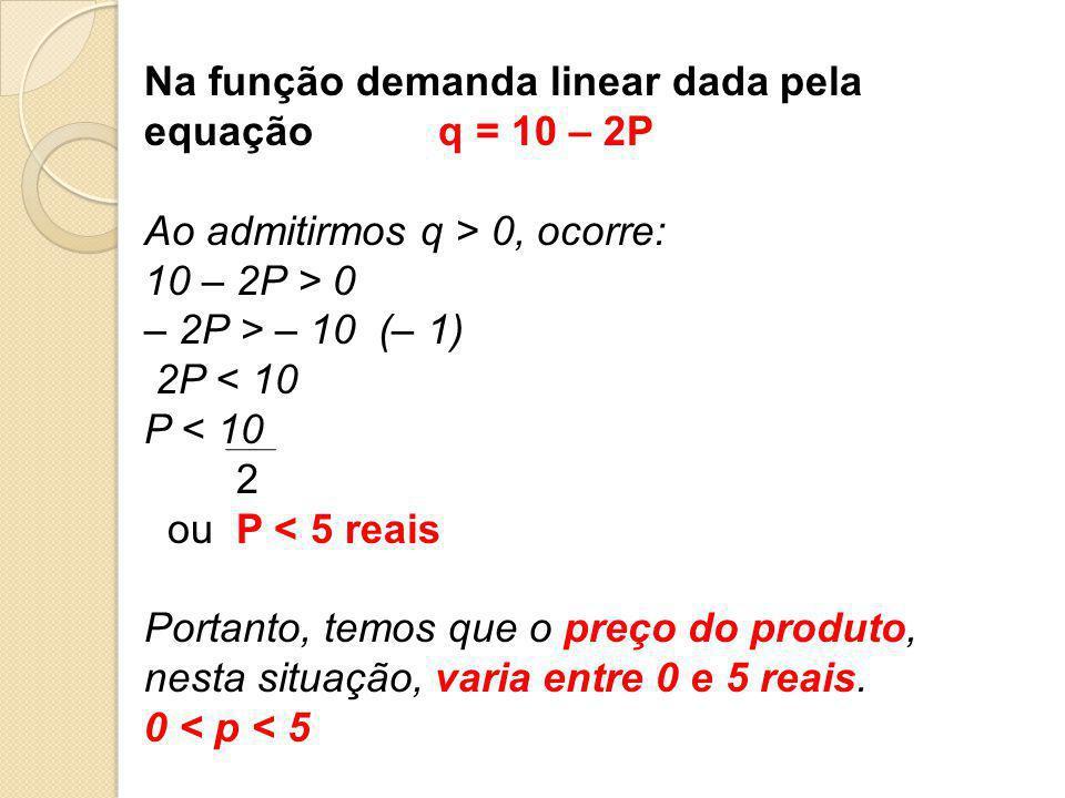 Na função demanda linear dada pela equação q = 10 – 2P
