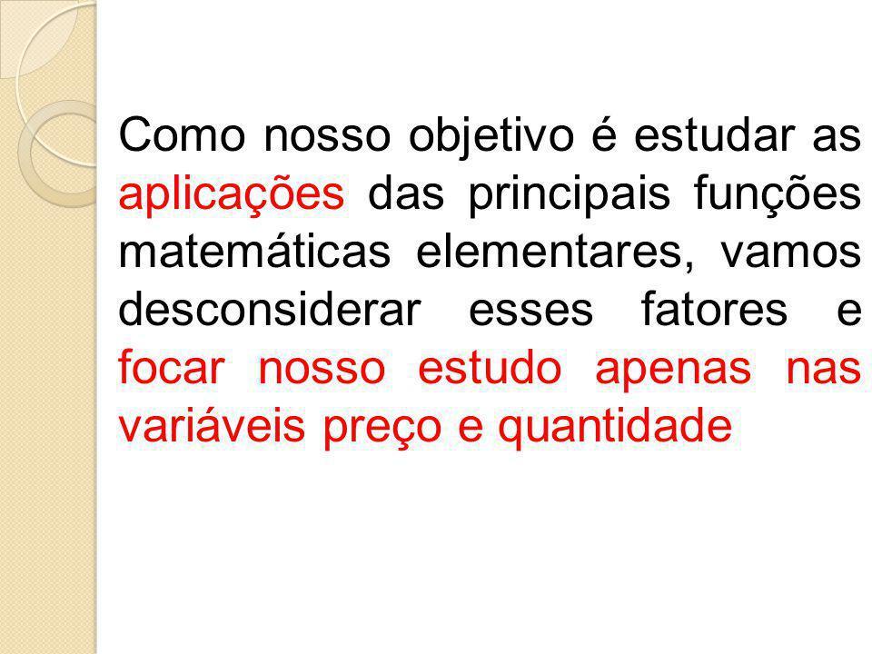 Como nosso objetivo é estudar as aplicações das principais funções matemáticas elementares, vamos desconsiderar esses fatores e focar nosso estudo apenas nas variáveis preço e quantidade