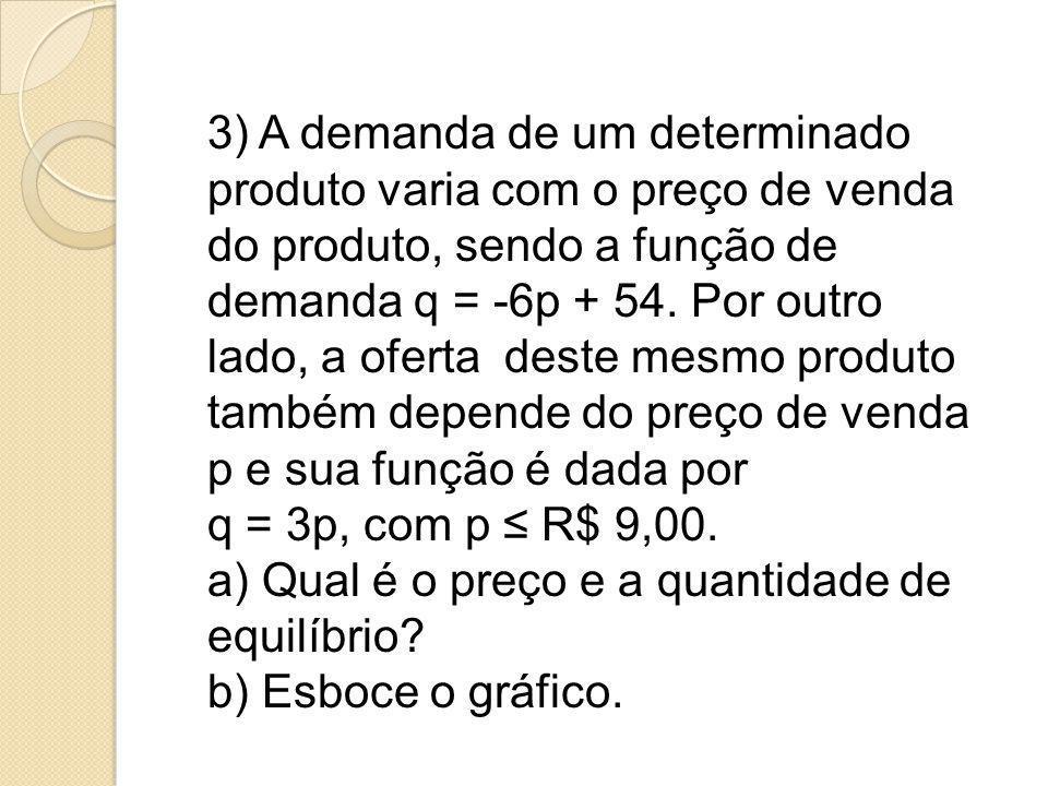 3) A demanda de um determinado produto varia com o preço de venda do produto, sendo a função de demanda q = -6p + 54. Por outro lado, a oferta deste mesmo produto também depende do preço de venda p e sua função é dada por