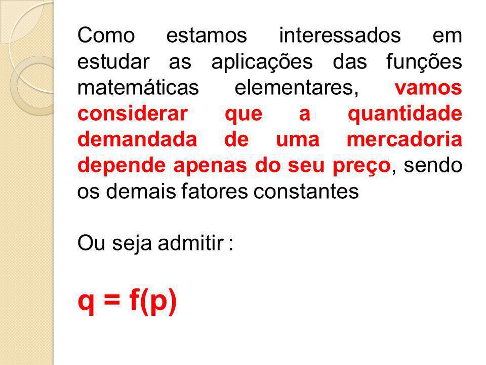 Como estamos interessados em estudar as aplicações das funções matemáticas elementares, vamos considerar que a quantidade demandada de uma mercadoria depende apenas do seu preço, sendo os demais fatores constantes