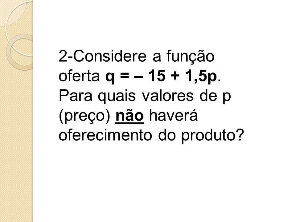 2-Considere a função oferta q = – 15 + 1,5p.