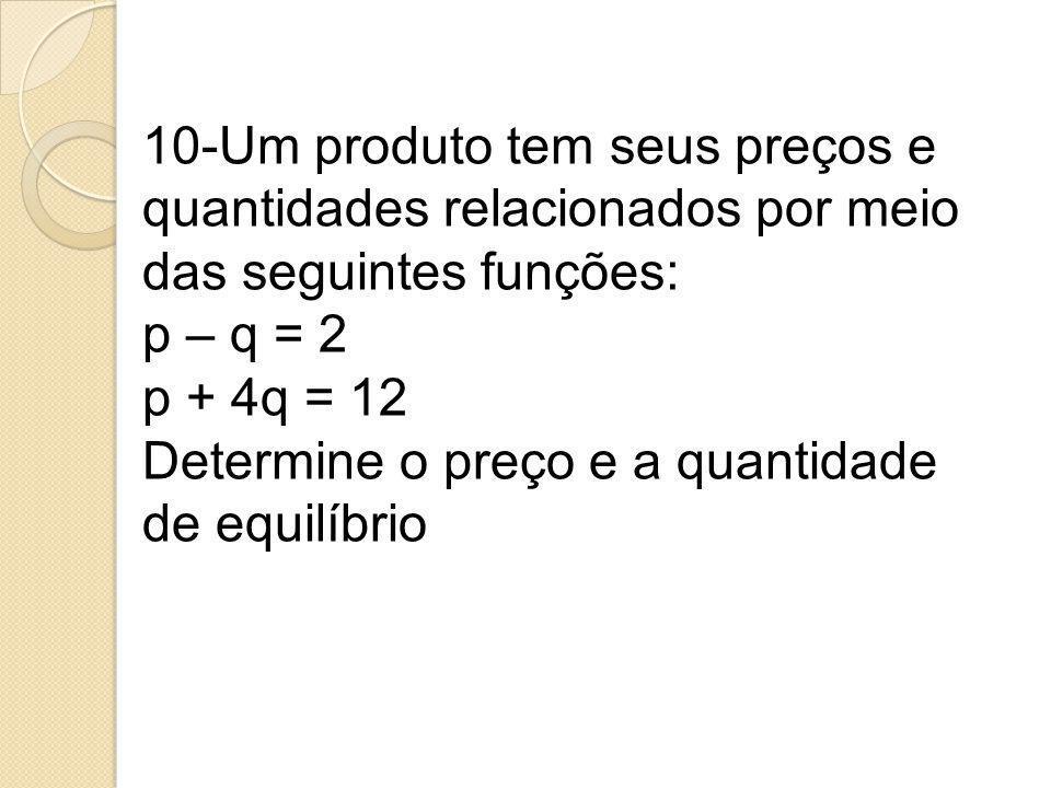 10-Um produto tem seus preços e quantidades relacionados por meio das seguintes funções: