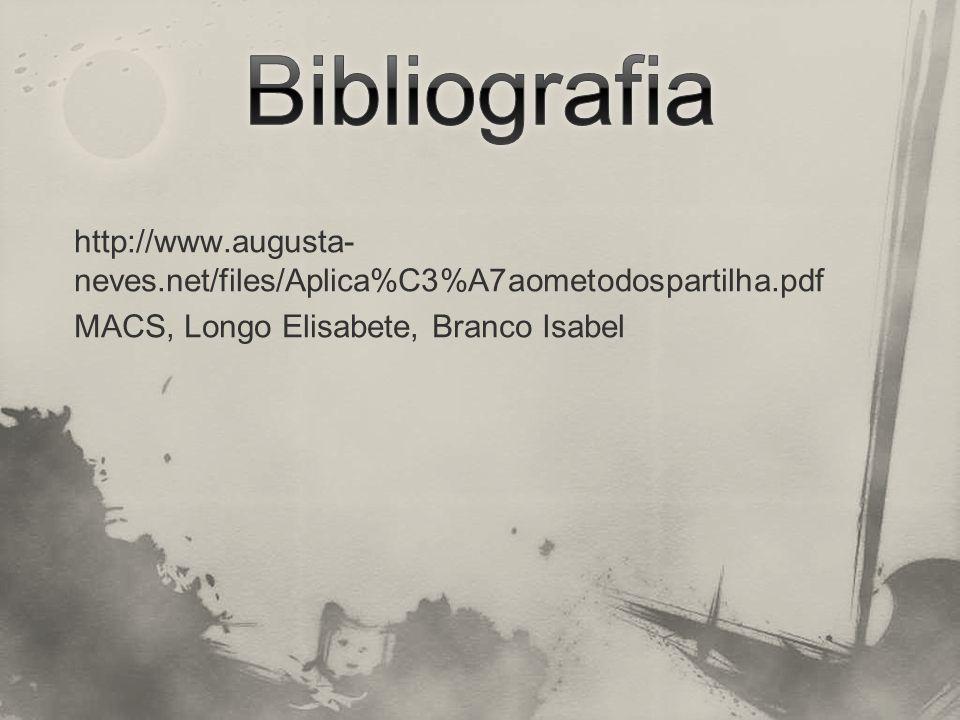 Bibliografia http://www.augusta-neves.net/files/Aplica%C3%A7aometodospartilha.pdf MACS, Longo Elisabete, Branco Isabel