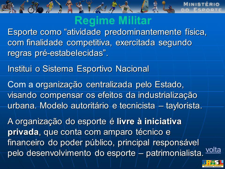 Regime Militar Esporte como atividade predominantemente física, com finalidade competitiva, exercitada segundo regras pré-estabelecidas .