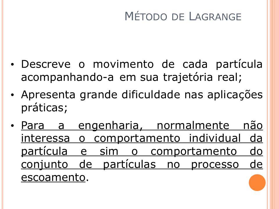 Método de Lagrange Descreve o movimento de cada partícula acompanhando-a em sua trajetória real;