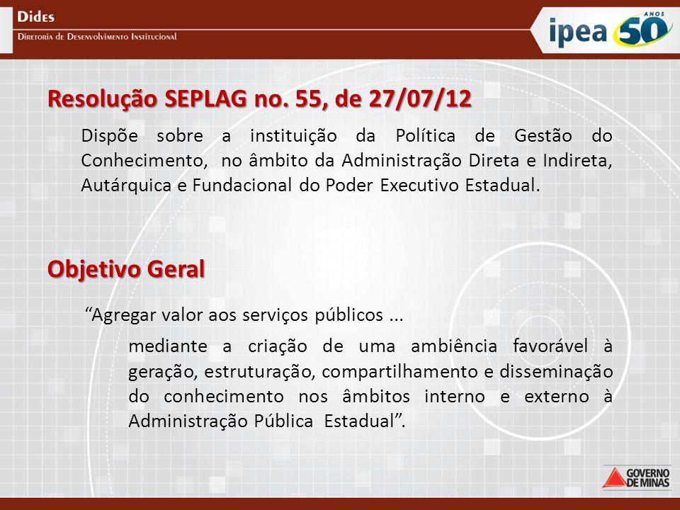 Resolução SEPLAG no. 55, de 27/07/12