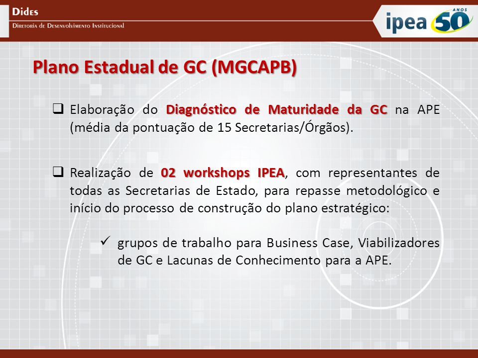 Plano Estadual de GC (MGCAPB)