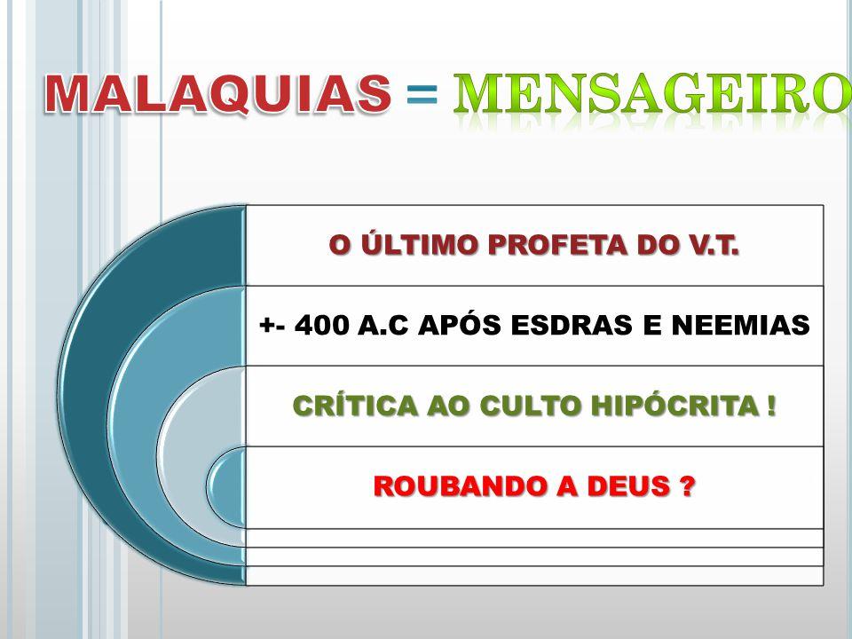 MALAQUIAS = MENSAGEIRO