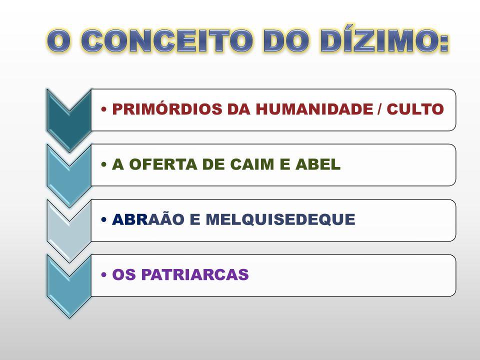 O CONCEITO DO DÍZIMO: PRIMÓRDIOS DA HUMANIDADE / CULTO