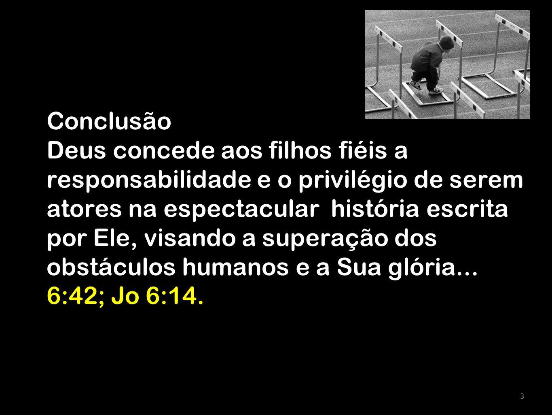 Conclusão Deus concede aos filhos fiéis a responsabilidade e o privilégio de serem atores na espectacular história escrita por Ele, visando a superação dos obstáculos humanos e a Sua glória... 6:42; Jo 6:14.