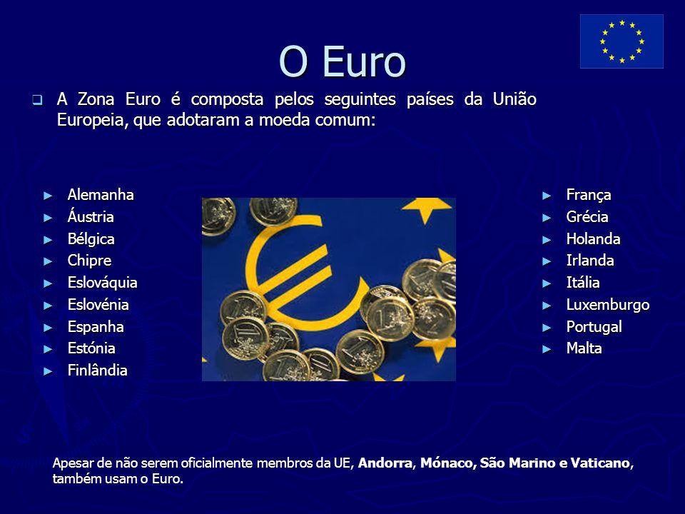 O Euro A Zona Euro é composta pelos seguintes países da União Europeia, que adotaram a moeda comum: