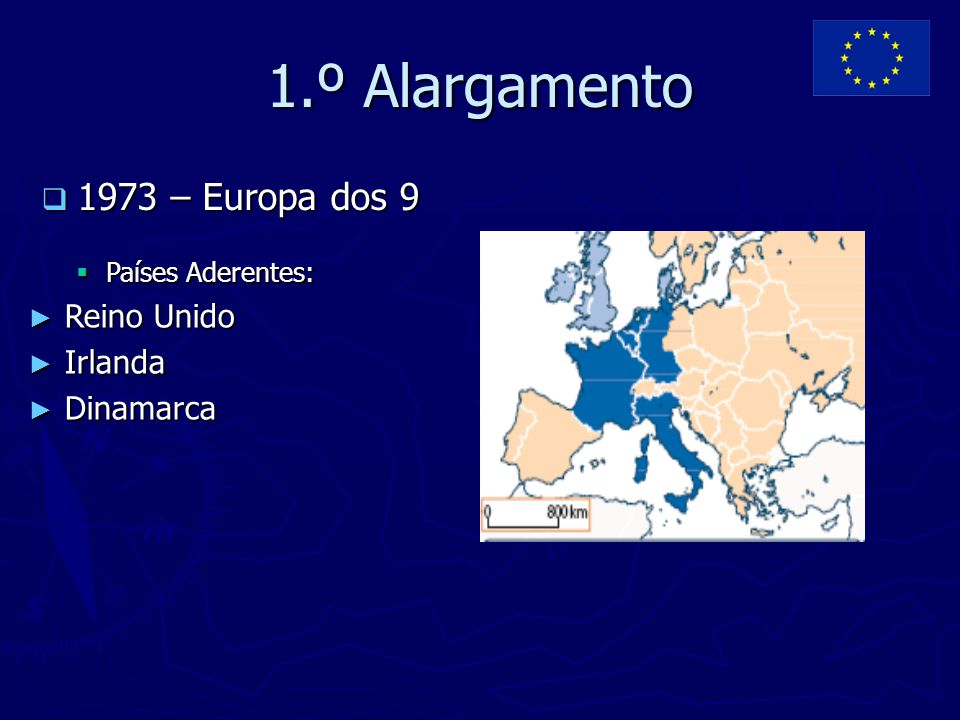 1.º Alargamento 1973 – Europa dos 9 Reino Unido Irlanda Dinamarca
