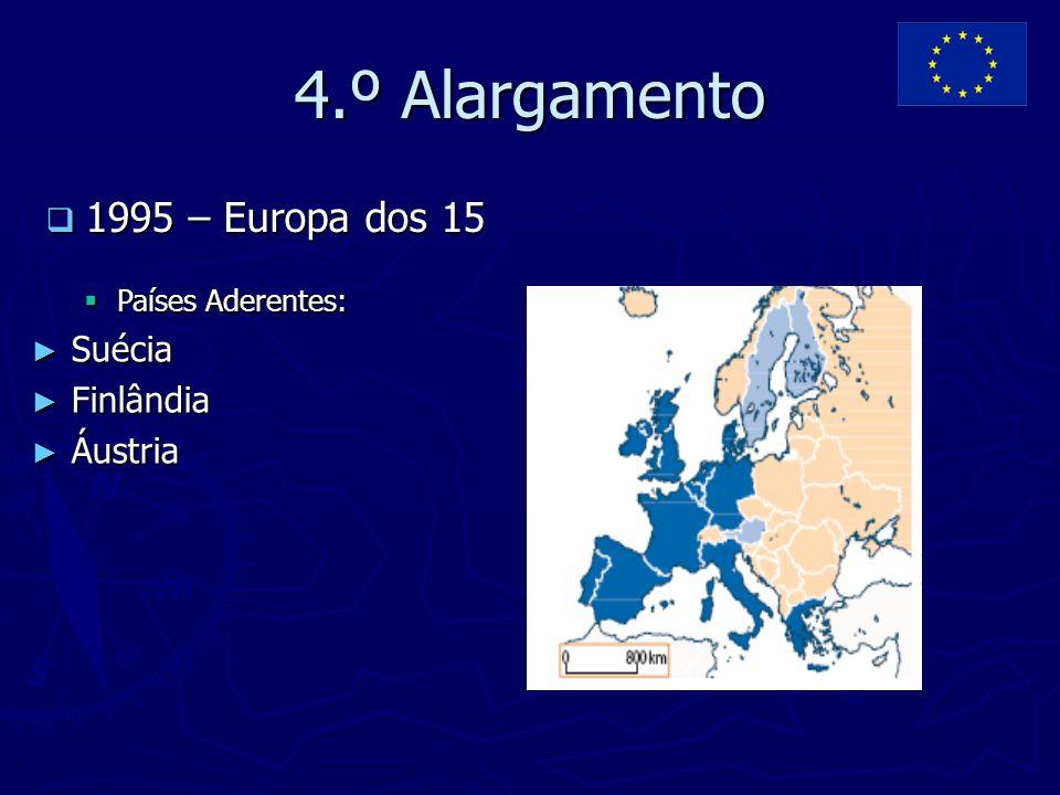 4.º Alargamento 1995 – Europa dos 15 Suécia Finlândia Áustria