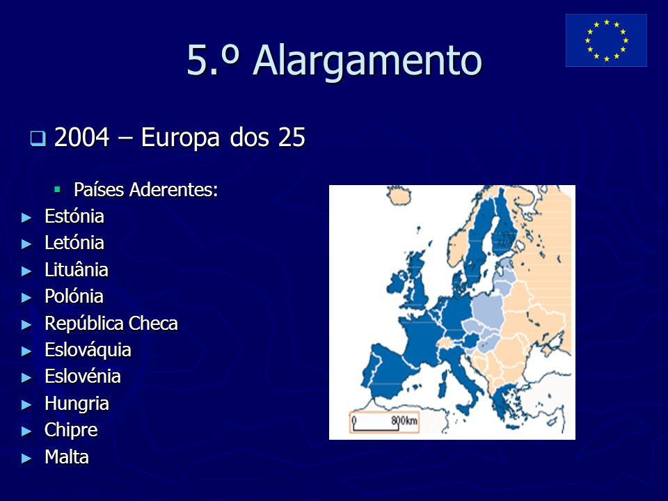 5.º Alargamento 2004 – Europa dos 25 Países Aderentes: Estónia Letónia