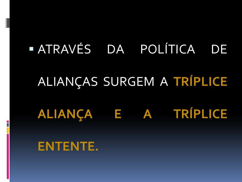 ATRAVÉS DA POLÍTICA DE ALIANÇAS SURGEM A TRÍPLICE ALIANÇA E A TRÍPLICE ENTENTE.