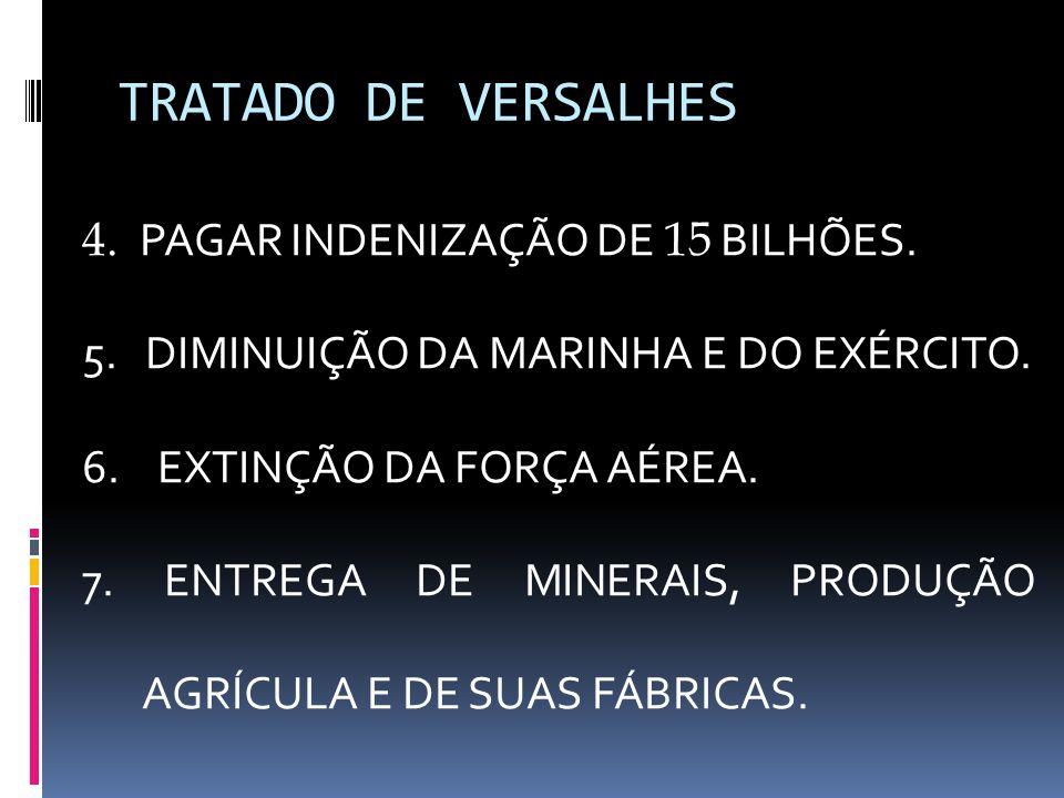 TRATADO DE VERSALHES 4. PAGAR INDENIZAÇÃO DE 15 BILHÕES.