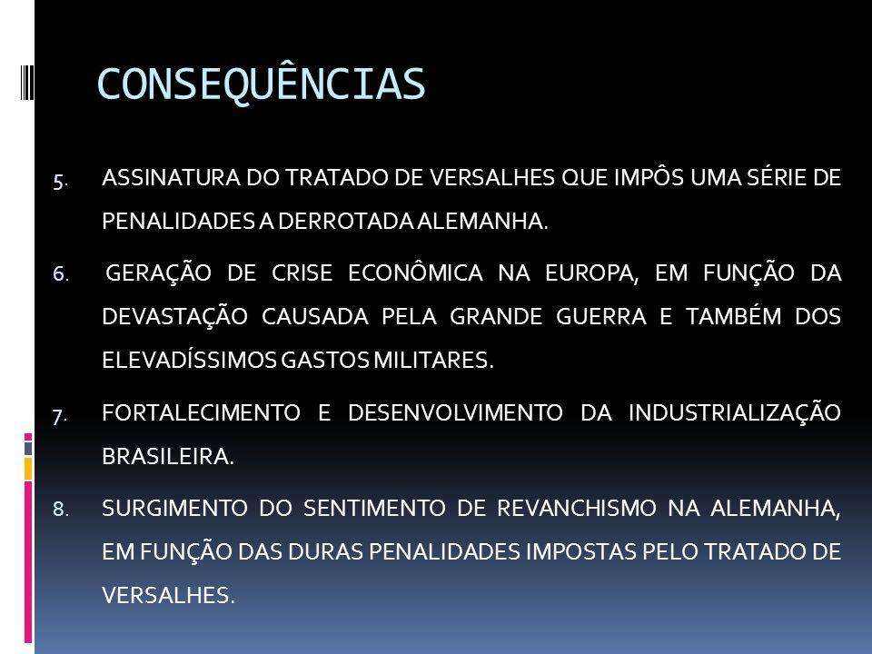 CONSEQUÊNCIAS ASSINATURA DO TRATADO DE VERSALHES QUE IMPÔS UMA SÉRIE DE PENALIDADES A DERROTADA ALEMANHA.