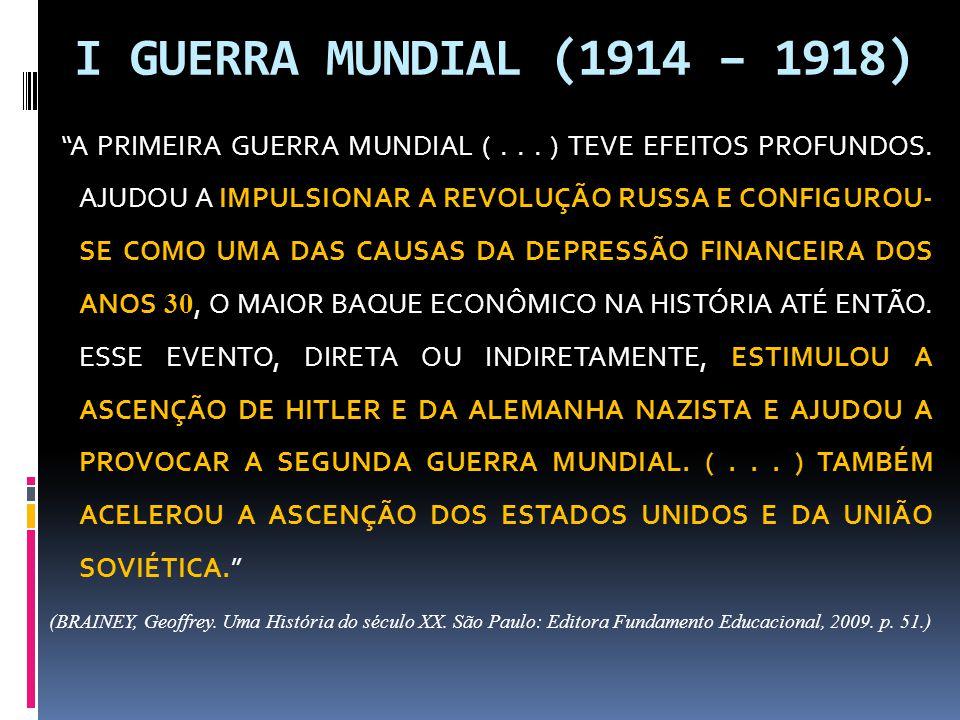 I GUERRA MUNDIAL (1914 – 1918)