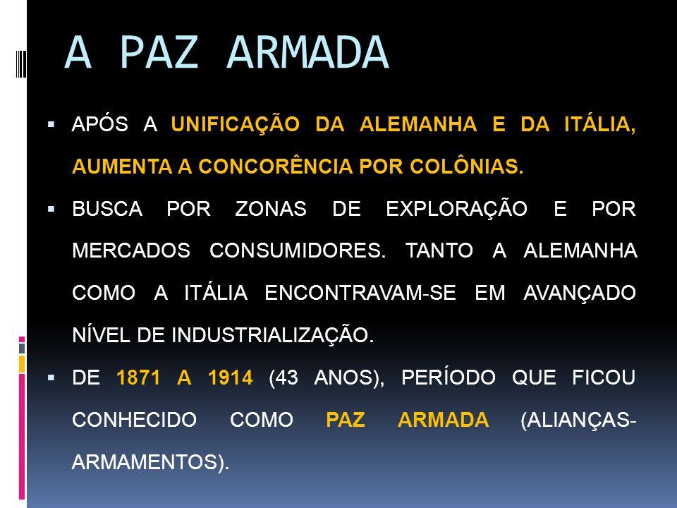 A PAZ ARMADA APÓS A UNIFICAÇÃO DA ALEMANHA E DA ITÁLIA, AUMENTA A CONCORÊNCIA POR COLÔNIAS.