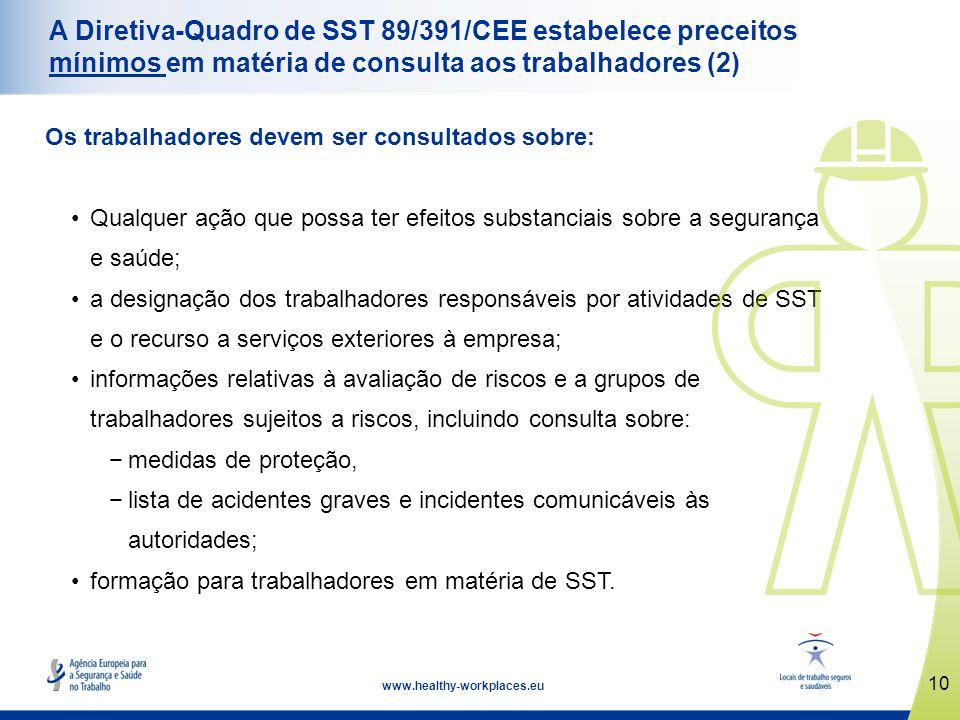 A Diretiva-Quadro de SST 89/391/CEE estabelece preceitos mínimos em matéria de consulta aos trabalhadores (2)