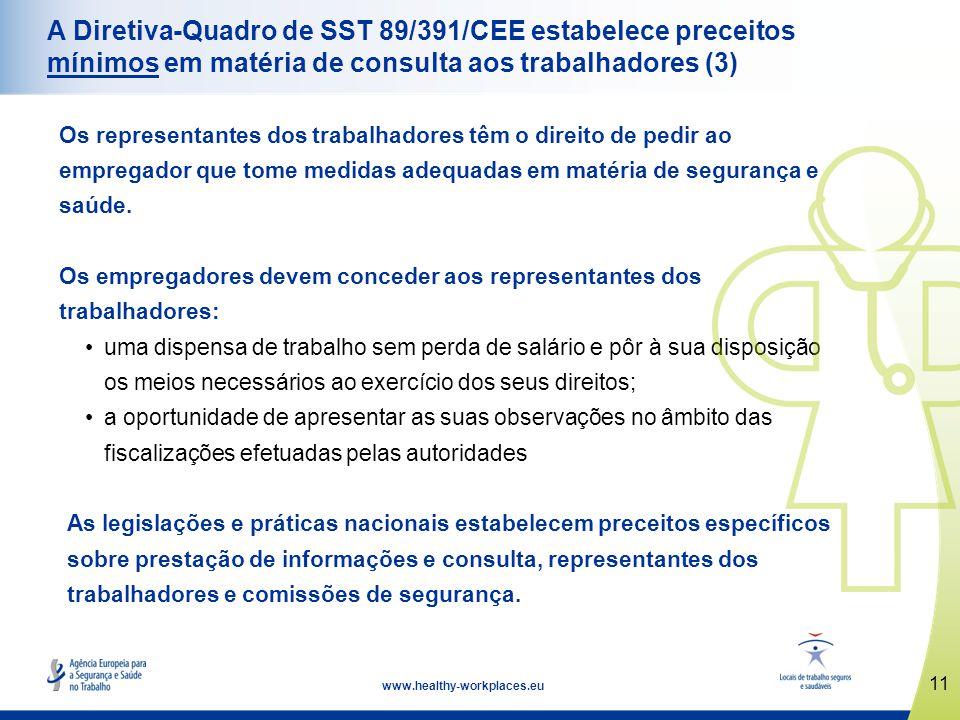 A Diretiva-Quadro de SST 89/391/CEE estabelece preceitos mínimos em matéria de consulta aos trabalhadores (3)
