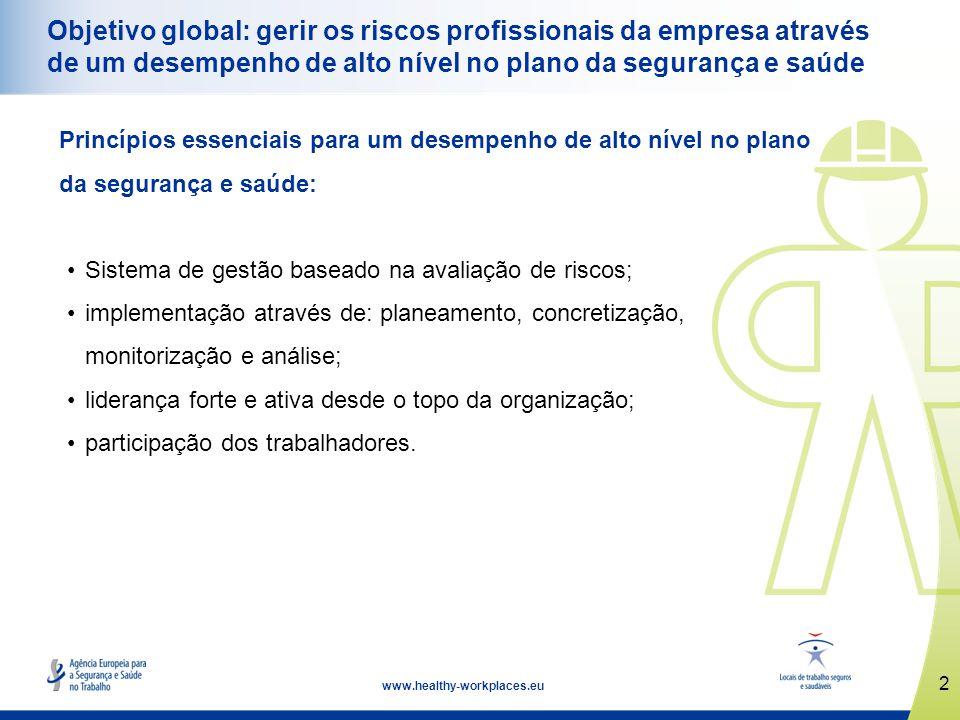 Objetivo global: gerir os riscos profissionais da empresa através de um desempenho de alto nível no plano da segurança e saúde