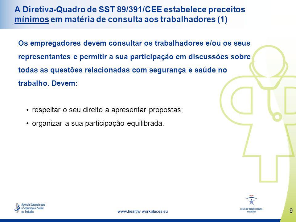 A Diretiva-Quadro de SST 89/391/CEE estabelece preceitos mínimos em matéria de consulta aos trabalhadores (1)