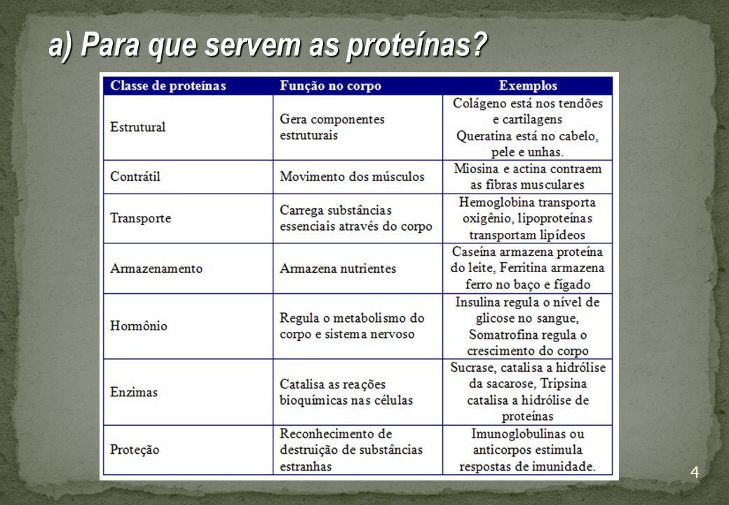 a) Para que servem as proteínas