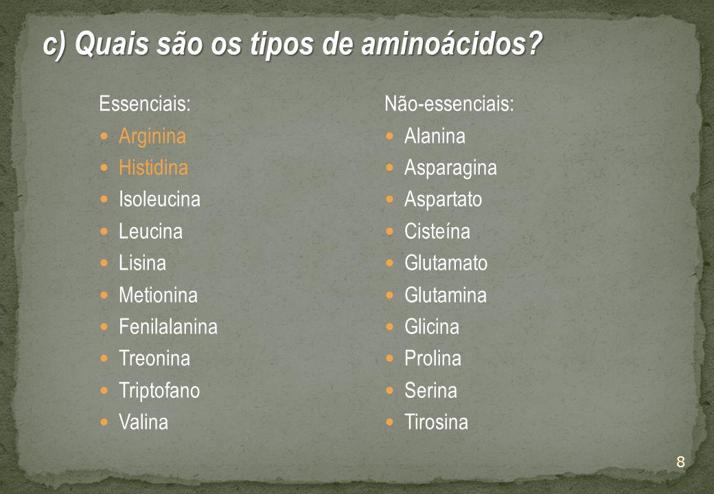 c) Quais são os tipos de aminoácidos