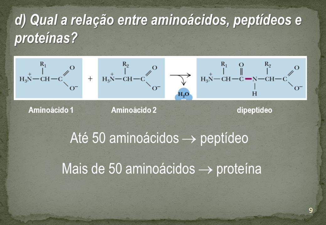 d) Qual a relação entre aminoácidos, peptídeos e proteínas