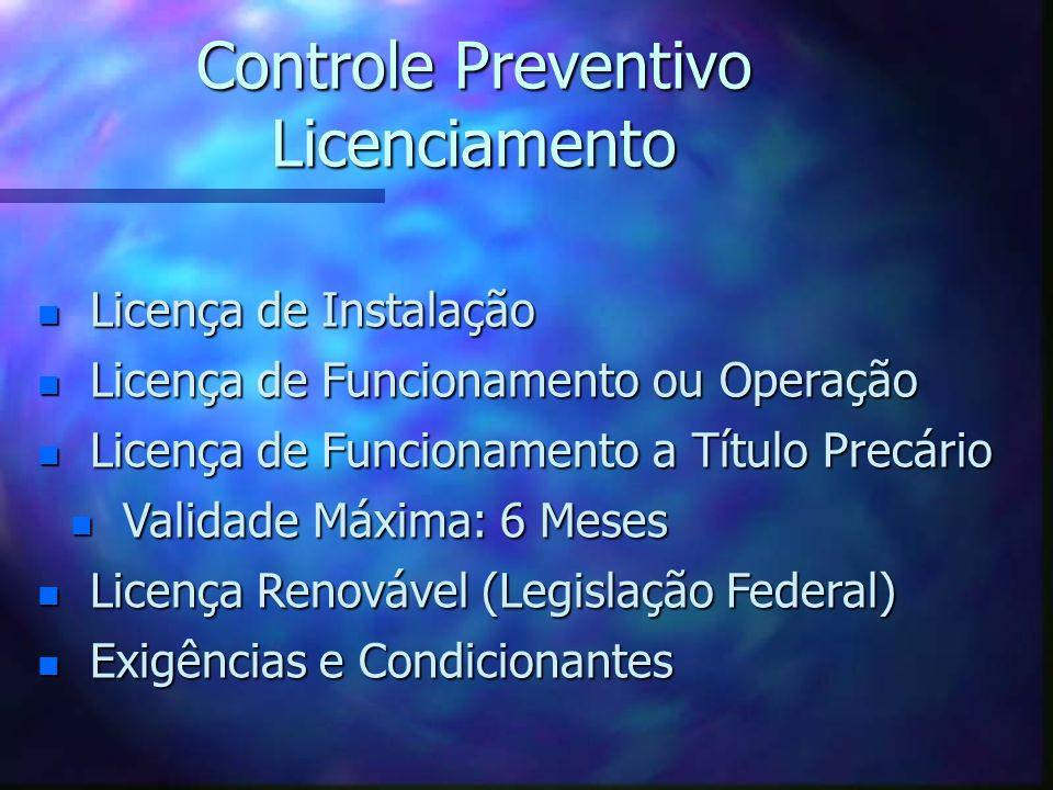 Controle Preventivo Licenciamento