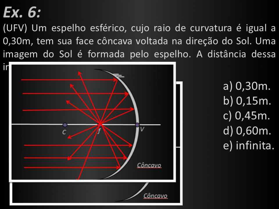 Ex. 6: a) 0,30m. b) 0,15m. c) 0,45m. d) 0,60m. e) infinita.