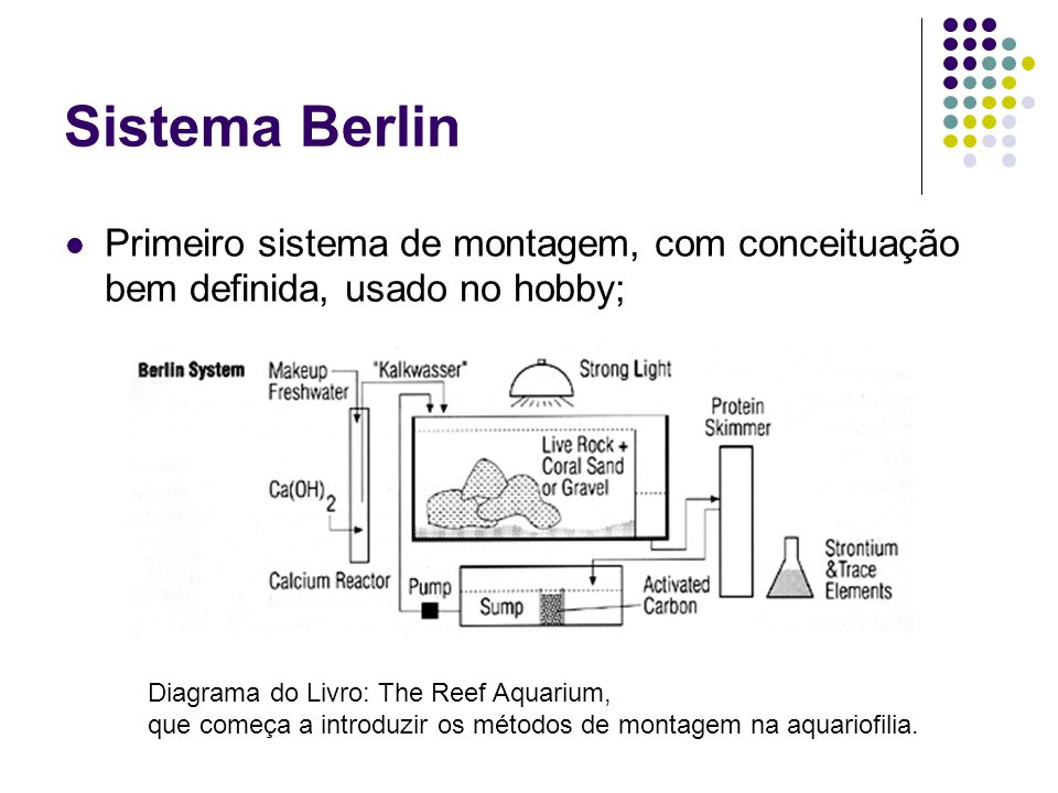 Sistema Berlin Primeiro sistema de montagem, com conceituação bem definida, usado no hobby; Diagrama do Livro: The Reef Aquarium,