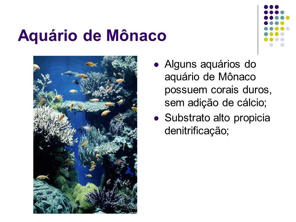 Aquário de Mônaco Alguns aquários do aquário de Mônaco possuem corais duros, sem adição de cálcio; Substrato alto propicia denitrificação;