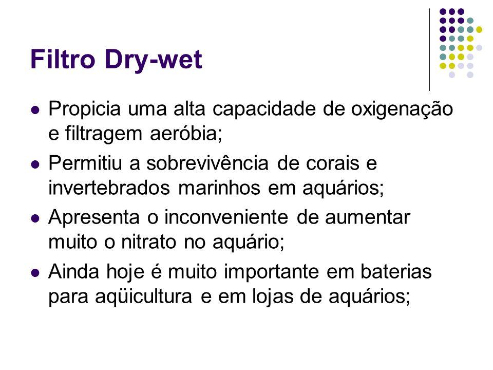 Filtro Dry-wet Propicia uma alta capacidade de oxigenação e filtragem aeróbia;