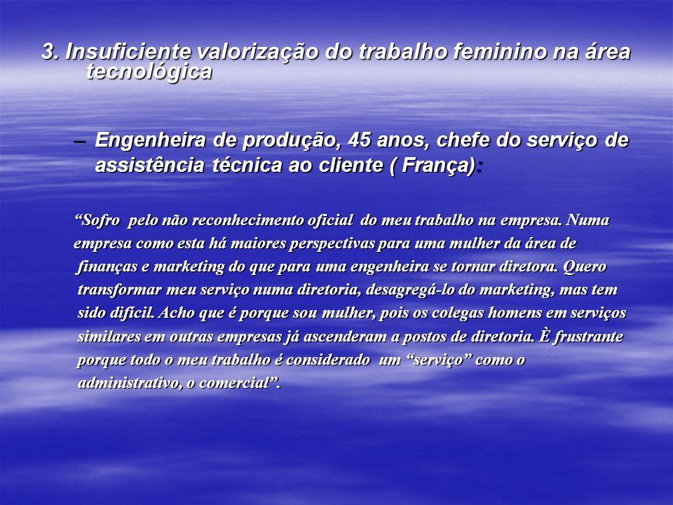 3. Insuficiente valorização do trabalho feminino na área tecnológica