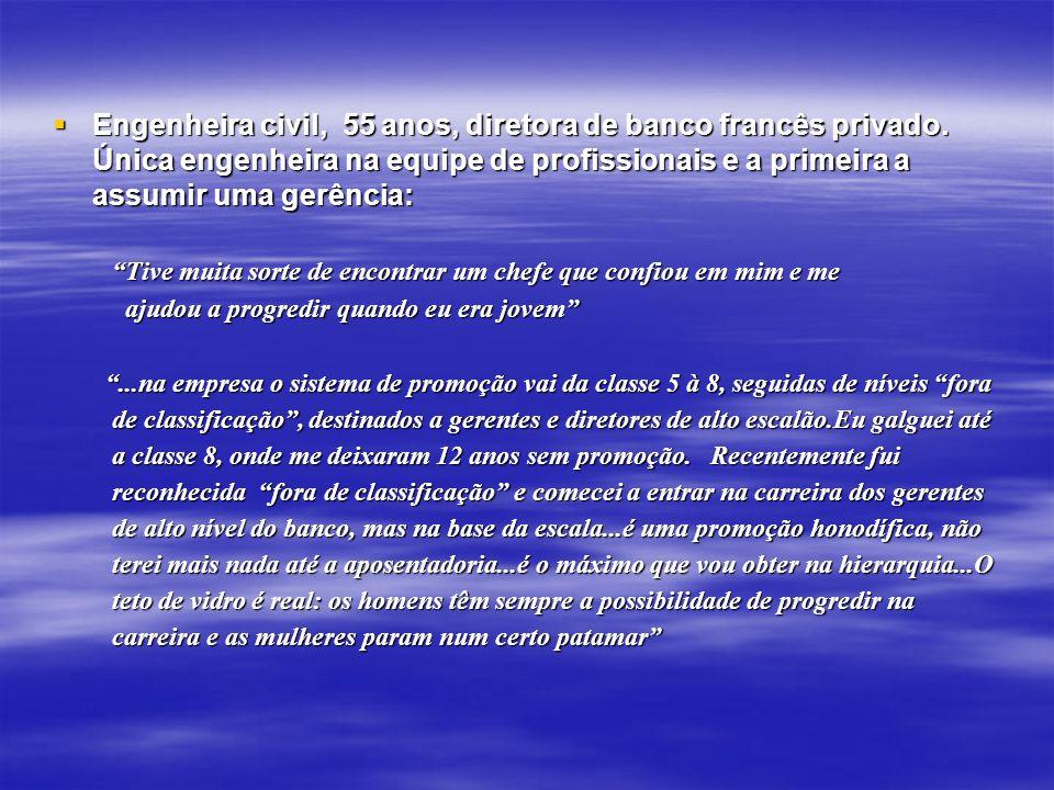Engenheira civil, 55 anos, diretora de banco francês privado