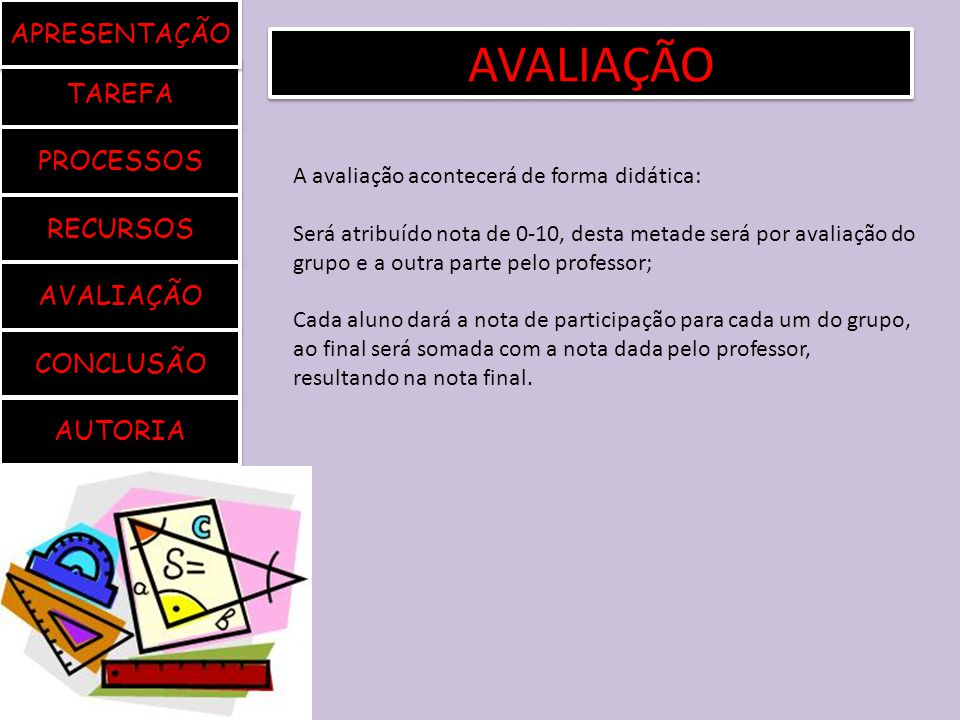 AVALIAÇÃO APRESENTAÇÃO TAREFA PROCESSOS RECURSOS AVALIAÇÃO CONCLUSÃO