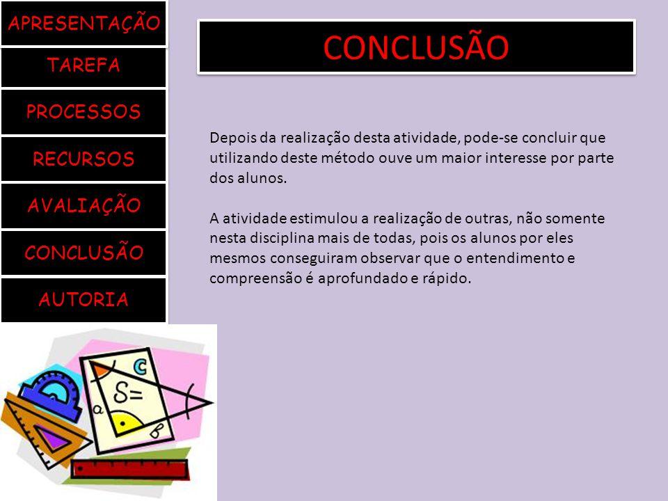 CONCLUSÃO APRESENTAÇÃO TAREFA PROCESSOS RECURSOS AVALIAÇÃO CONCLUSÃO
